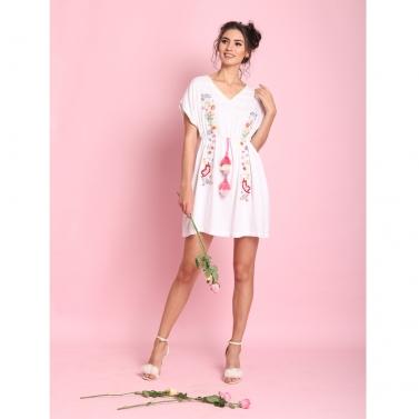 White free size short dress