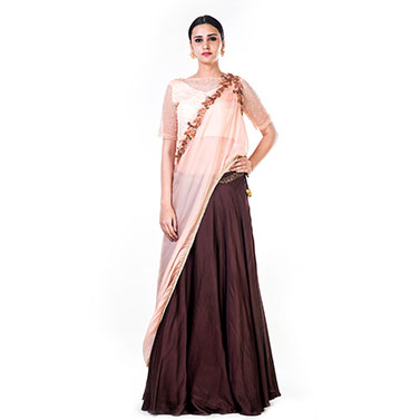 Embroidered Powder Peach & Brown Lehenga Set With an Attached Dupatta