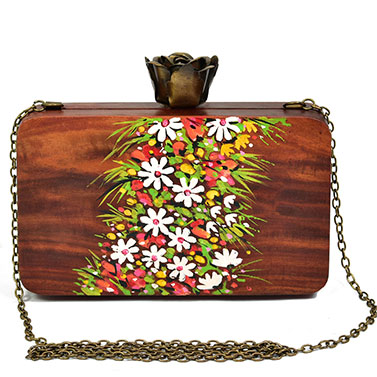 Handpaintedfloral wooden clutch