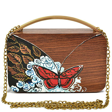 Handpainted wooden clutch with brass handle