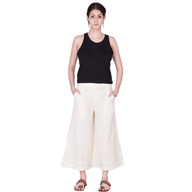 Off White Muslin Crop Palazzo Pants