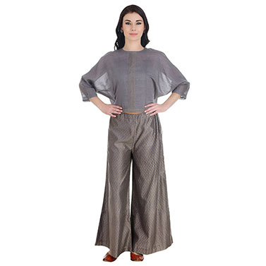 Grey Chanderi Silk Palazzos