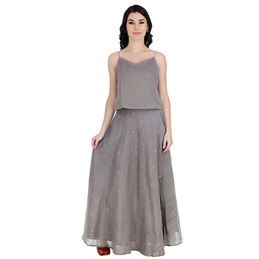 Chanderi Grey Long Skirt