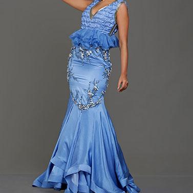 Silk Satin Handwork Sea Blue Gown