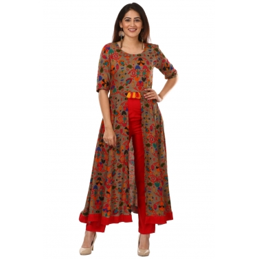 Gray Red Floral Printed Front Tassel Kurti with Pants