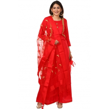 Red Jacket Style Kurti and Flared Palazzos with Red Butterfly Embroidered Dupatta