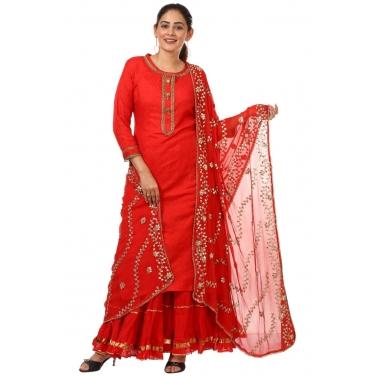 Red Gotta Kurti with Gathered Sharara and Gotta Embroidered Dupatta