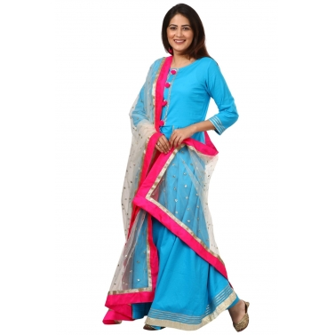 Blue Gotta Kurti with Straight Palazzo and Off-White Net Sequenced Dupatta