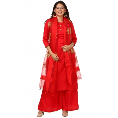 Red Jacket Style Kurti and Flared Palazzos with Red Tree Embroidered Dupatta