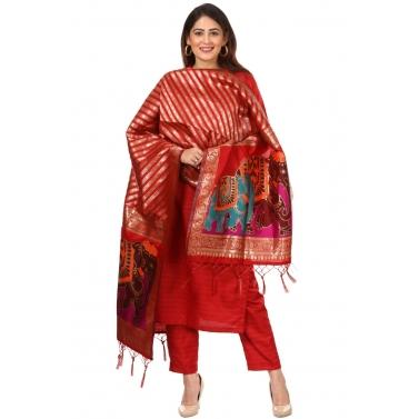 Red Kundan Silk Kurti with Straight Pants and Red Elephant Banarsi Dupatta