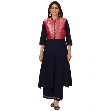 Blue Rayon Front Slit Kurti with Pink Jacket and Straight Palazzo