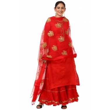 Red Gotta Kurti with Gathered Sharara and Thread Embroidered Dupatta