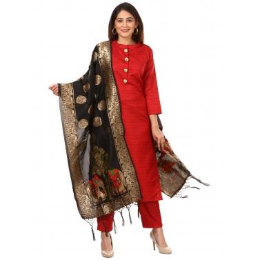Red Kundan Silk Kurti with Straight Pants and Black Banarsi Stole