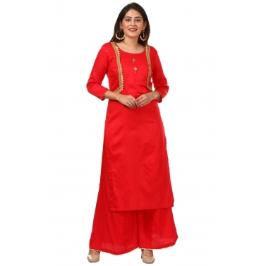 Red Jacket Style Kurti with Flared Palazzos
