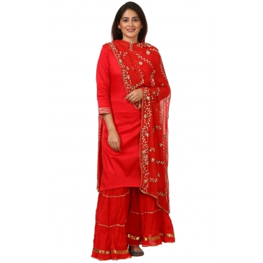 Red Shine Kurti with Gotta Gathered Sharara and Red Gotta Patti Chiffon Dupatta