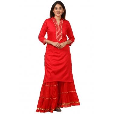 Red Shine Kurti with Gotta Gathered Sharara