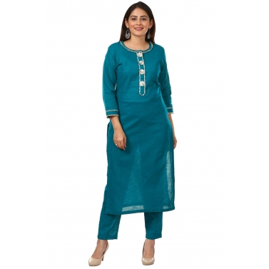 Sea Green Gotta Work Kurti with Straight Pants