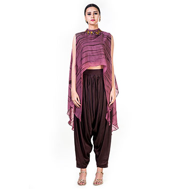 Marble Dyed High Low Cape Style Crop Top with Neck embroidery & Coffee Brown Harrem Pant