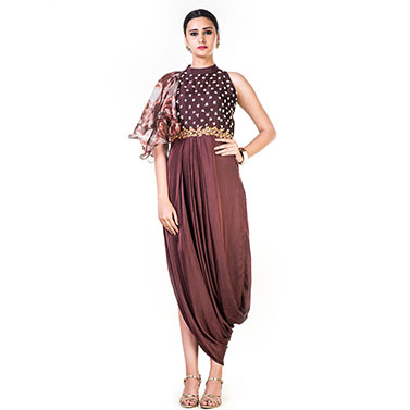 Tie & Dye & Embroidered Coffee Brown Draped Dress