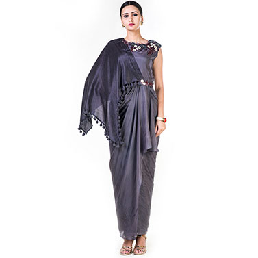 Embroidered Charcoal Grey Asymmetrical Cape Draped Gown