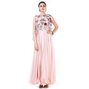 Rose Embroidered Net Top with a Dusty Pink Gown
