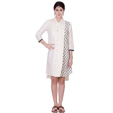 Off White Muslin Shirt Dress
