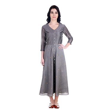 Grey Chanderi Old School Dress