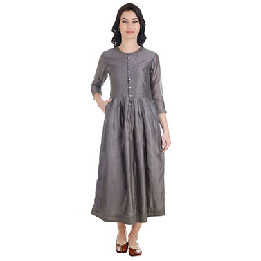 Grey Chanderi Dress