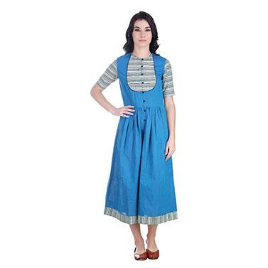 Cotton Blue Midi Dress