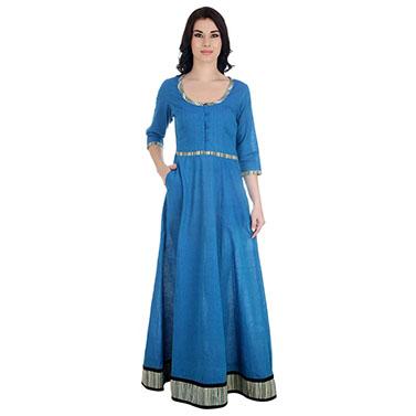 Cotton Blue Maxi Dress