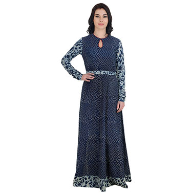 Indigo Block Printed Maxi Dress