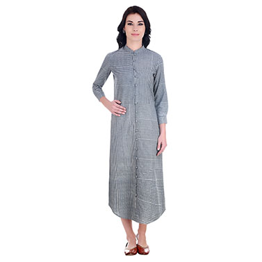 Front Button Down Tunic In Grey Stripes Of Dabu Block Printed Cotton