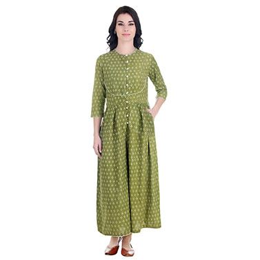 Dabu Block Printed Cotton Jumpsuit With a Yoke And Wide Legs