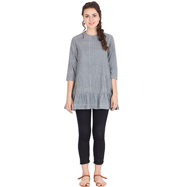 Grey Stripped Top In Dabu Hand Block Printed Cotton