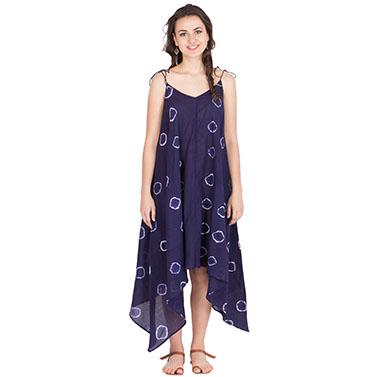 Resort Dress With Tye And Dye On Very Thin Cotton Muslin