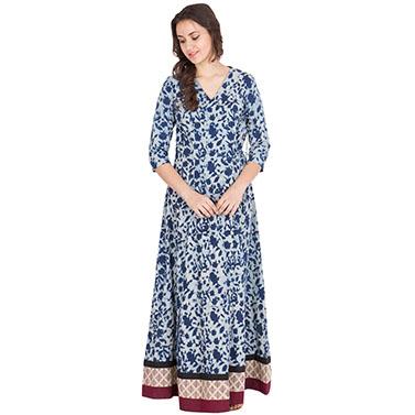 Floral Indigo Maxi Dress