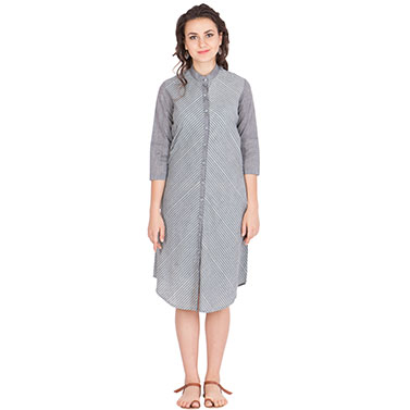 Block Printed Stripped Tunic in Cotton