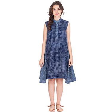 Block Printed Dress With Bias Cut Side Pannels