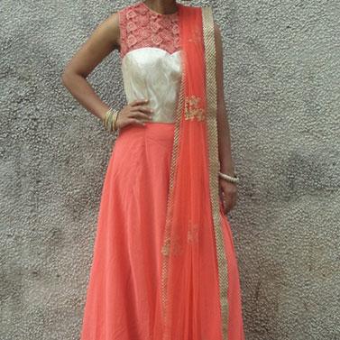 Full Length Peach Anarkali