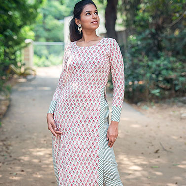 Block Print High Slit Top/Kurta