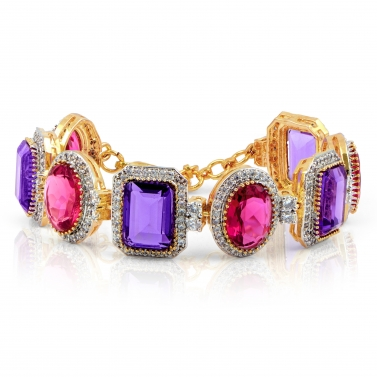Gold finish Amethyst and Pink sapphire Bracelet