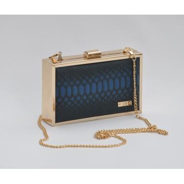 blue snake print clutch
