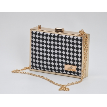 black and white checkered clutch