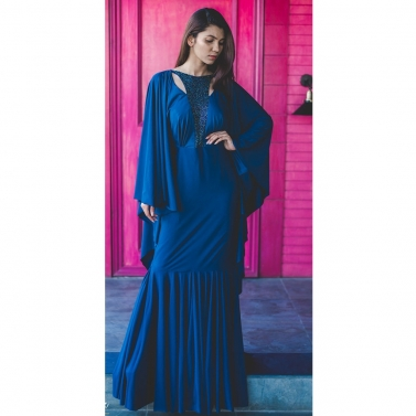Navy Blue gown with drape sleeves embellished with handwork patch on the neck