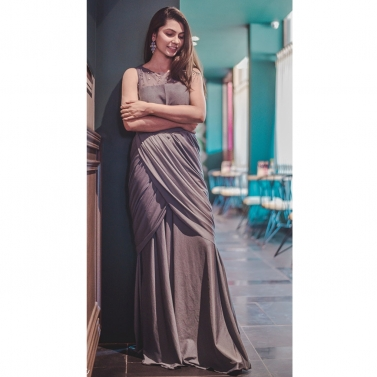 Grey drape gown with Crystal work on the neck