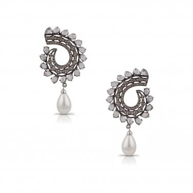 Antique finish Pearl Drop earrings