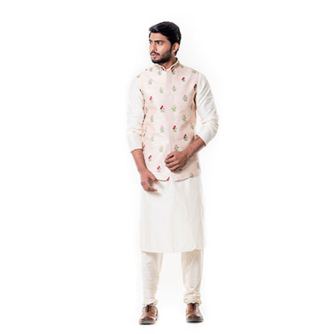 Cream Kurta with Light Peach Waist Coat Set