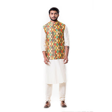 Cream Kurta with Printed Waist Coat Set