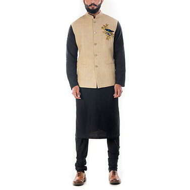 Black Solid Kurta With Beige Motif Embroidered Waistcoat