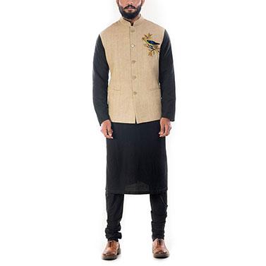 Black Solid Kurta With Beige Motif Embroidered Waistcoat